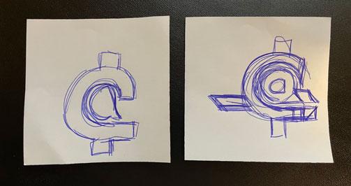 Algunos bocetos rápidos en papel sobre la idea de sacar una a minúscula dentro de la C